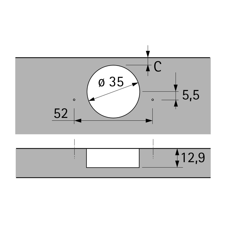 Петля Sensys 8639i, W90° , с доводчиком