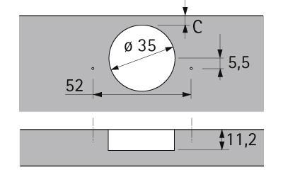 Петля Intermat 9936, W90°, накладная